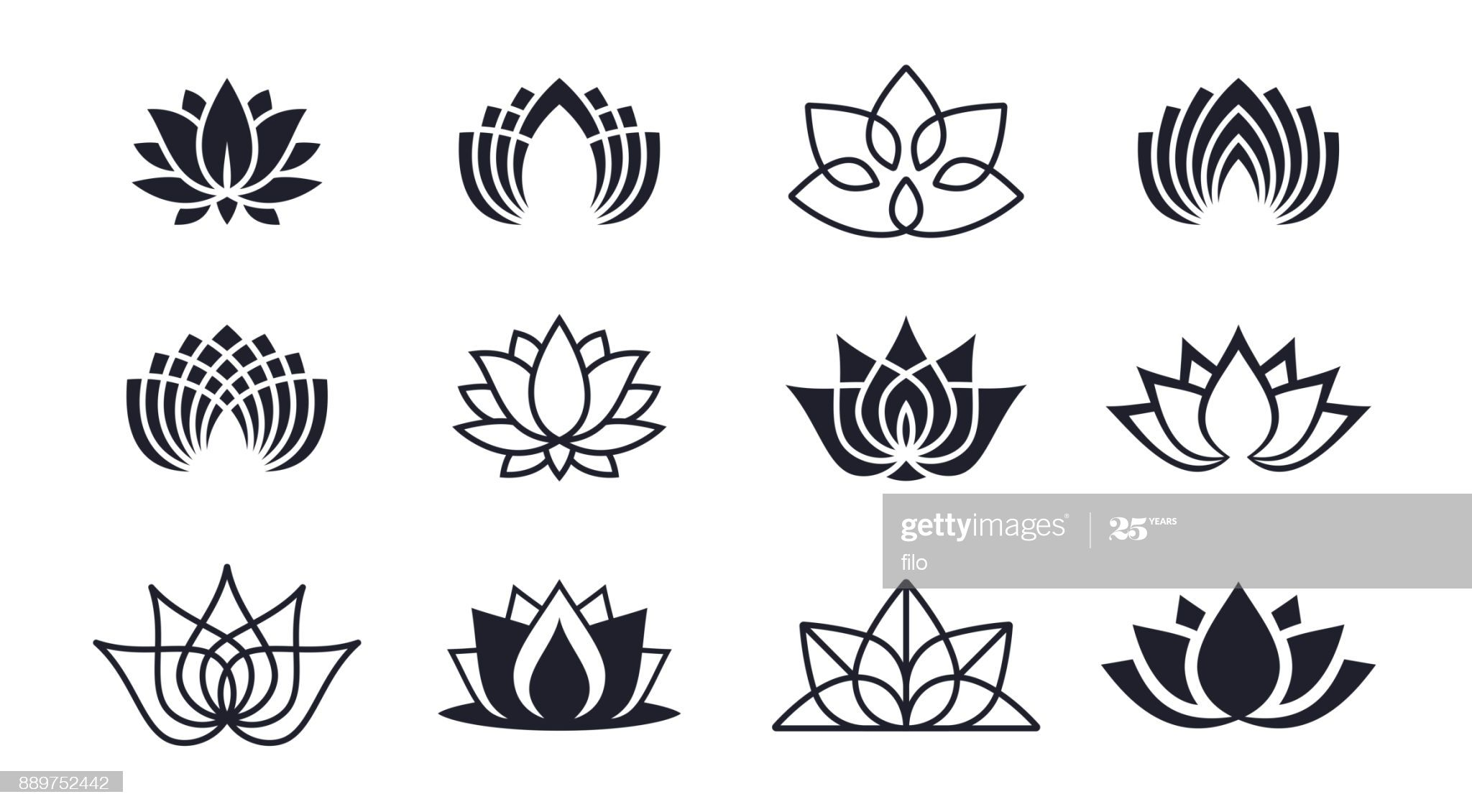 Lotus blossom symbols and icons. in 2020 Free vector