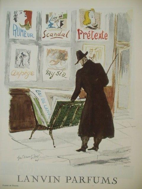 VINTAGE FRENCH PAPER AD 1954 LANVIN GUILLAUME GILLET ILLUSTRATOR LESPUBS