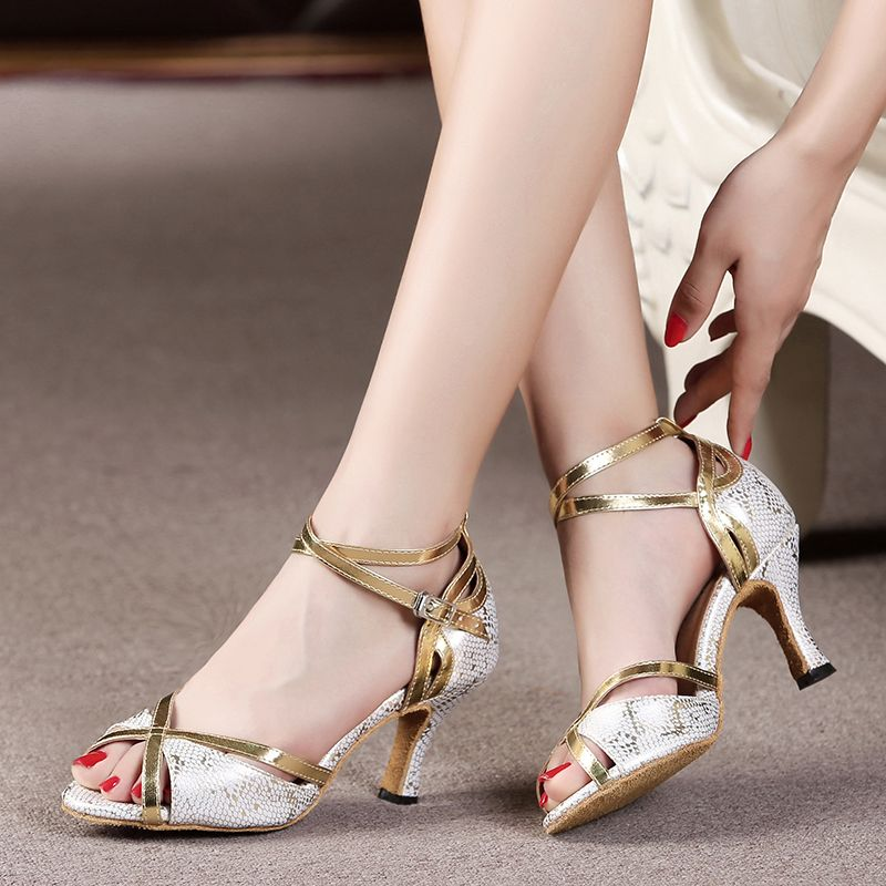 Black Gold PU leather high-heeled Latin dance shoes soft outsole women's Ballroom dancing shoes Salsa sandals 6420