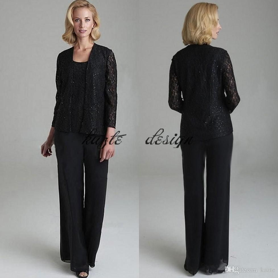 Black Lace Mother Of The Bride Pant Suits With Jackets Scoop Neck ...