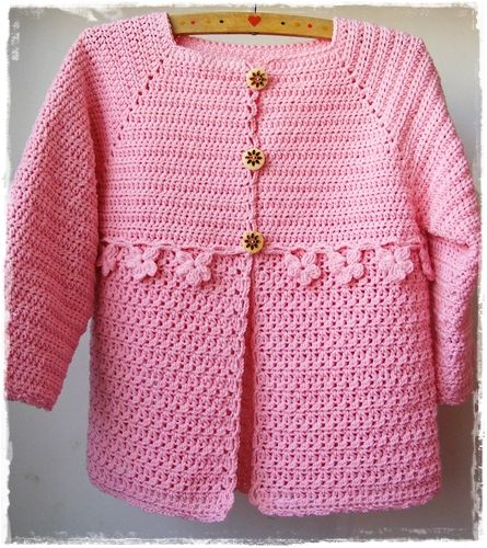 free crochet girl\'s sweater pattern from a Czech blog. I\'m making it ...