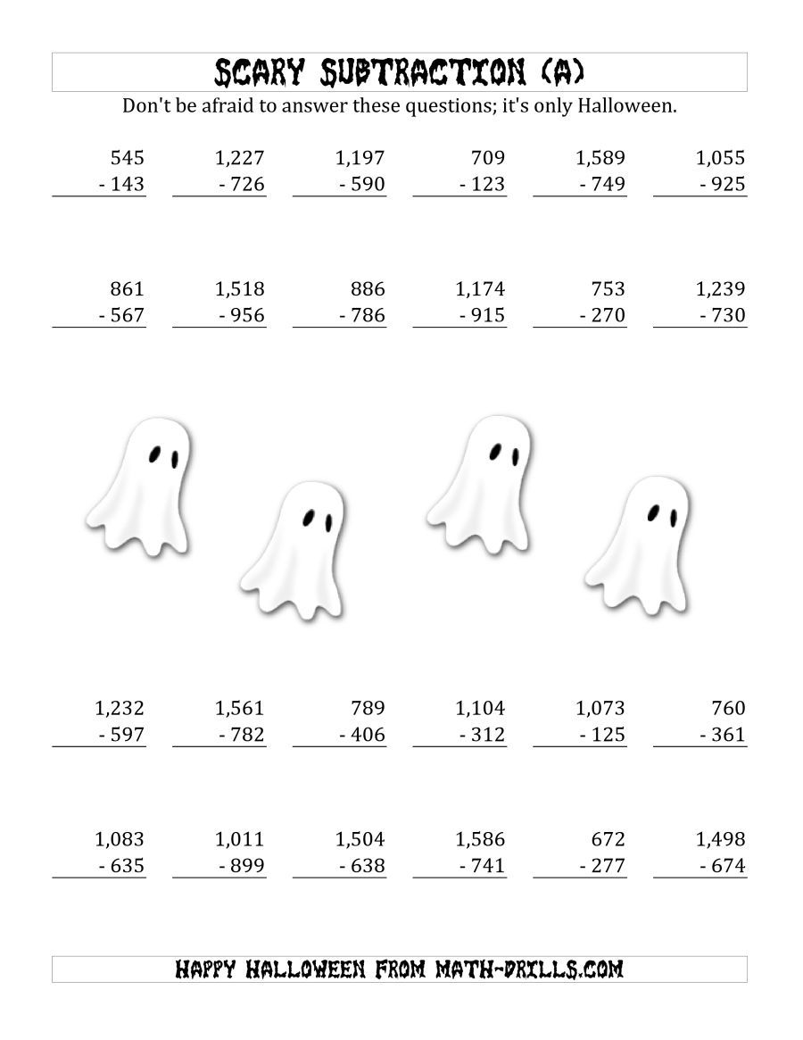 The Scary Subtraction With Triple Digit Subtrahends And Differences A Math Worksheet From The Halloween Math Worksheets Page At Math Drills Com [ 1165 x 900 Pixel ]