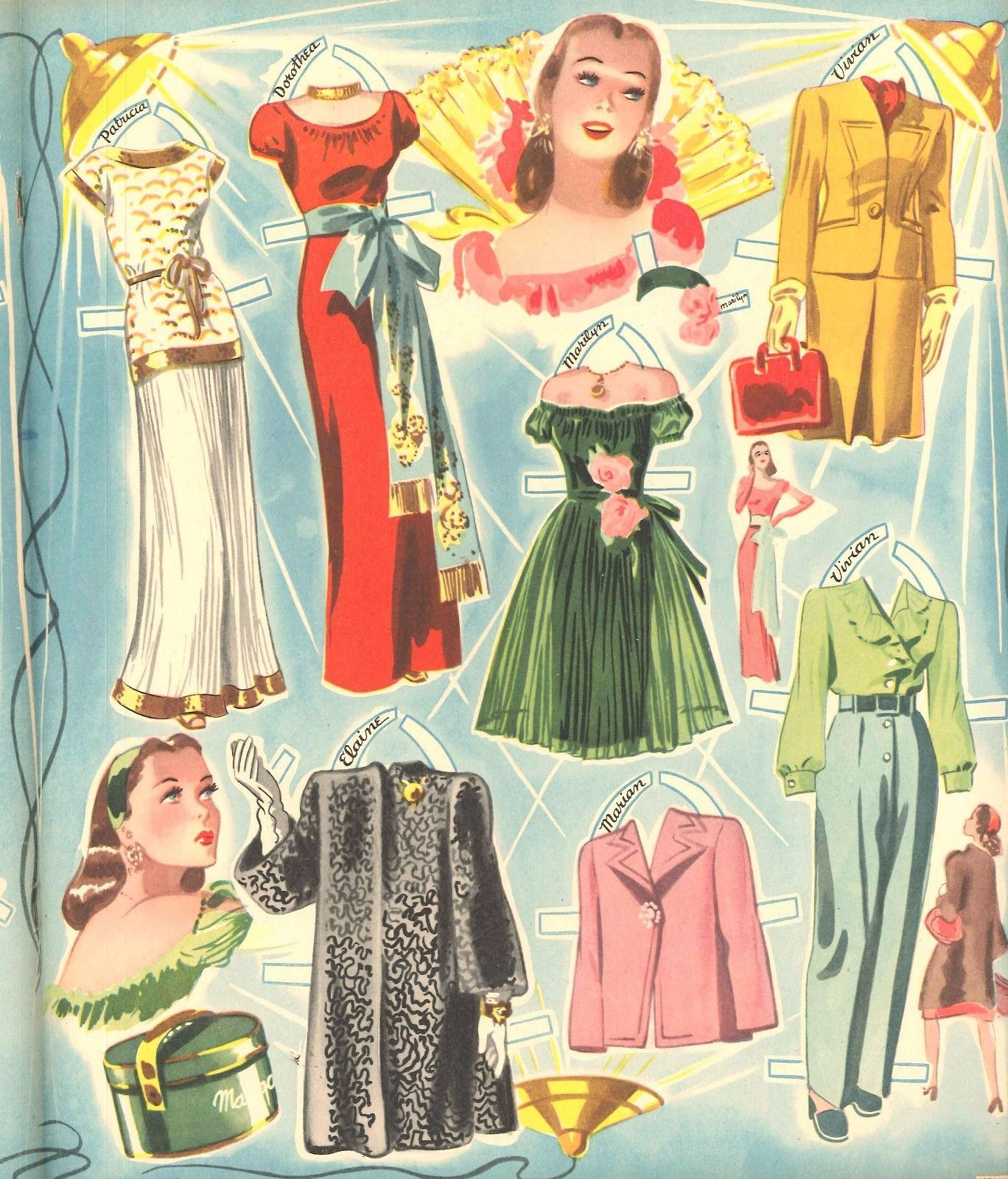 Details About Vintage Uncut 1944 Cover Girls Paper Doll Merrill