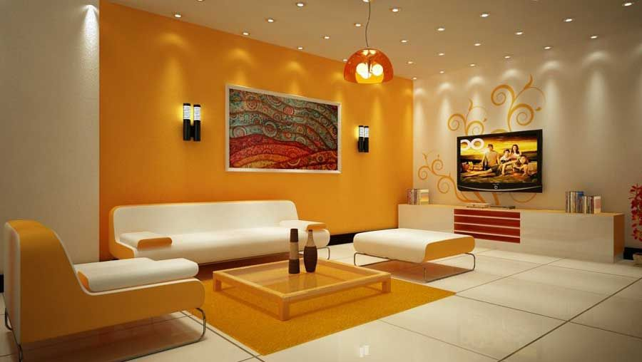 Living Room Wall Decor With Warm Color Design For Modern Home Design  Interior, Orange And