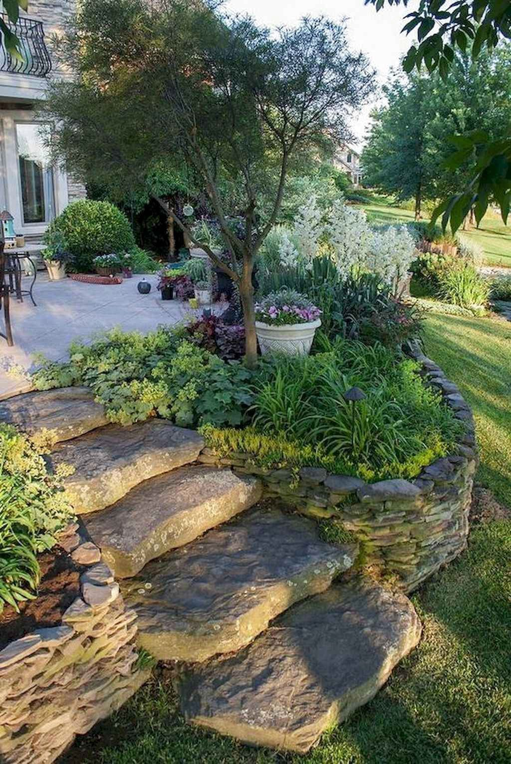 90 Best Side House Garden Landscaping Decoration Ideas With Rocks Front Garden Design Garden Stairs Rock Garden Landscaping