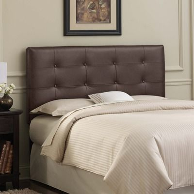 Skyline Furniture Tufted Leather Headboard In Brown