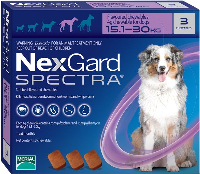 Nexgard Spectra 3 Tablets For Dogs 15 30 Kg Dogs Spectrum Dog Supplies