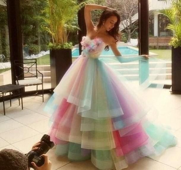Then you need to see 2015 Colorful Rainbow Prom Dresses A Line Sweetheart  Floor Length Long Prom Gowns Sleeveless Tulle Vestidos De Fiesta ... 21f366c0e086