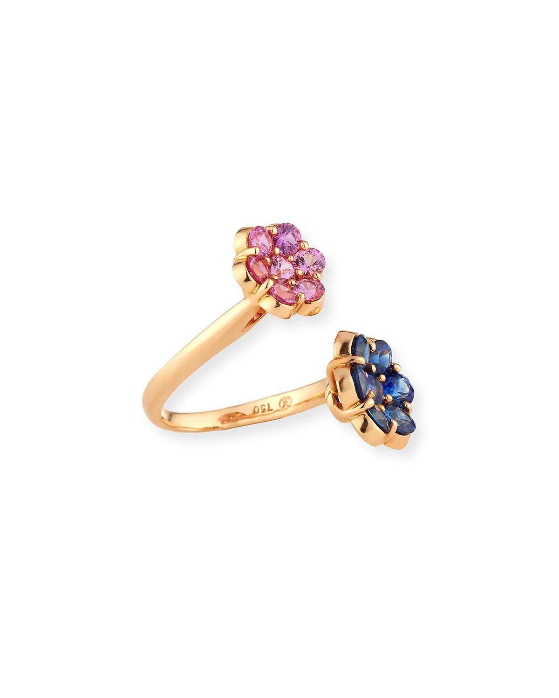 Bayco 18K Rose Gold & Blue Sapphire Floral Bypass Bracelet HyQkRt