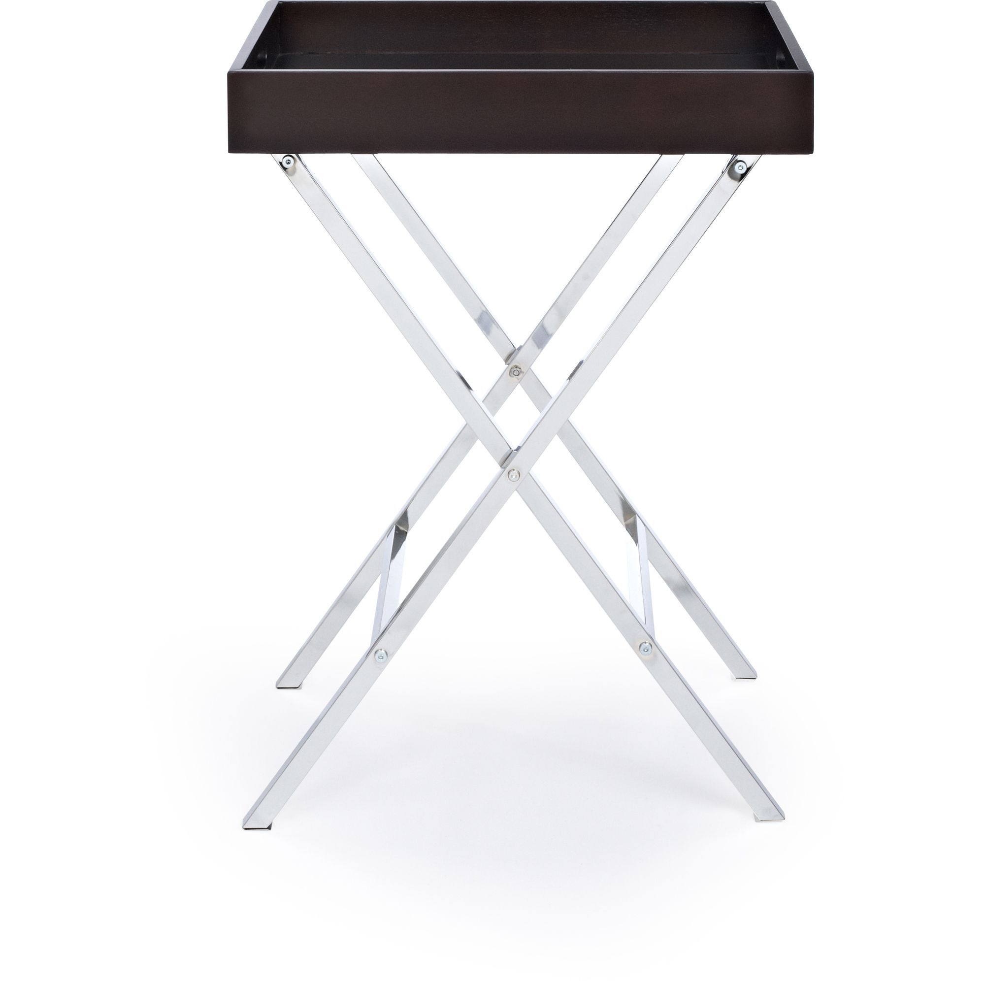 Home Trends Folding Tray Table Espresso/Chrome Finish at