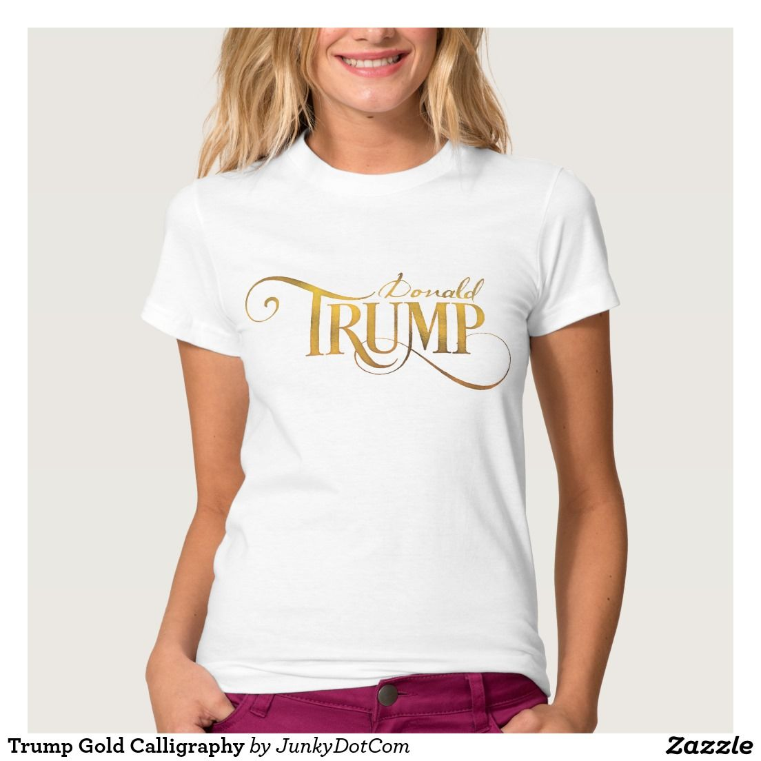 Design your own t shirt zazzle - Trump Gold Calligraphy T Shirt