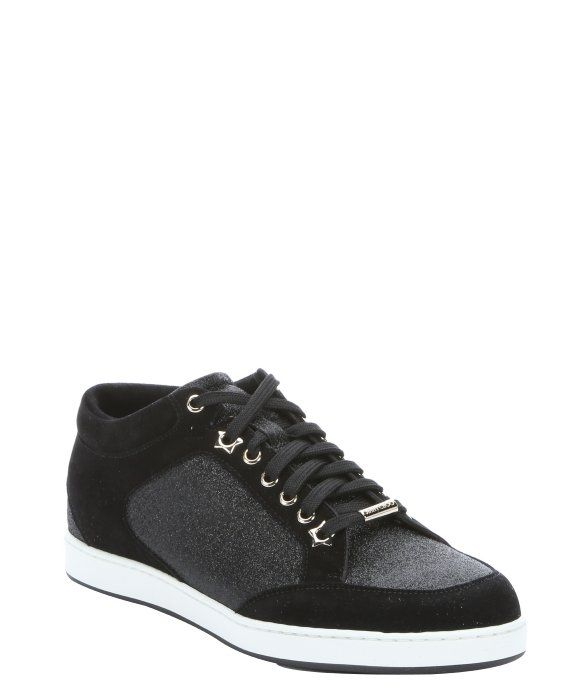 f0f7eea7c90 Jimmy Choo black glitter and suede 'Miami' lace-up sneakers | Shoe ...