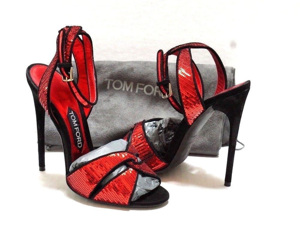 8bc8b5b8f9c0 Tom Ford Even Red Sequin Black Suede Stiletto Heel Sandals Size 38 7.5   2170.00