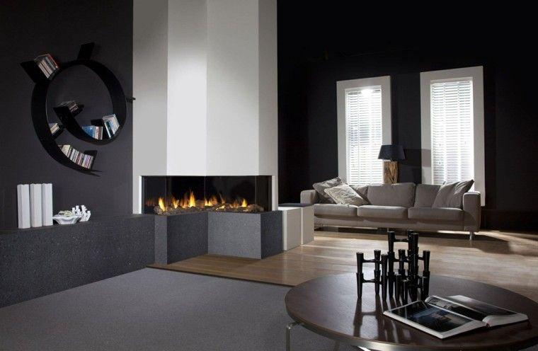 diseño chimeneas modernas discos estantes lamparas Interiores con - chimeneas modernas
