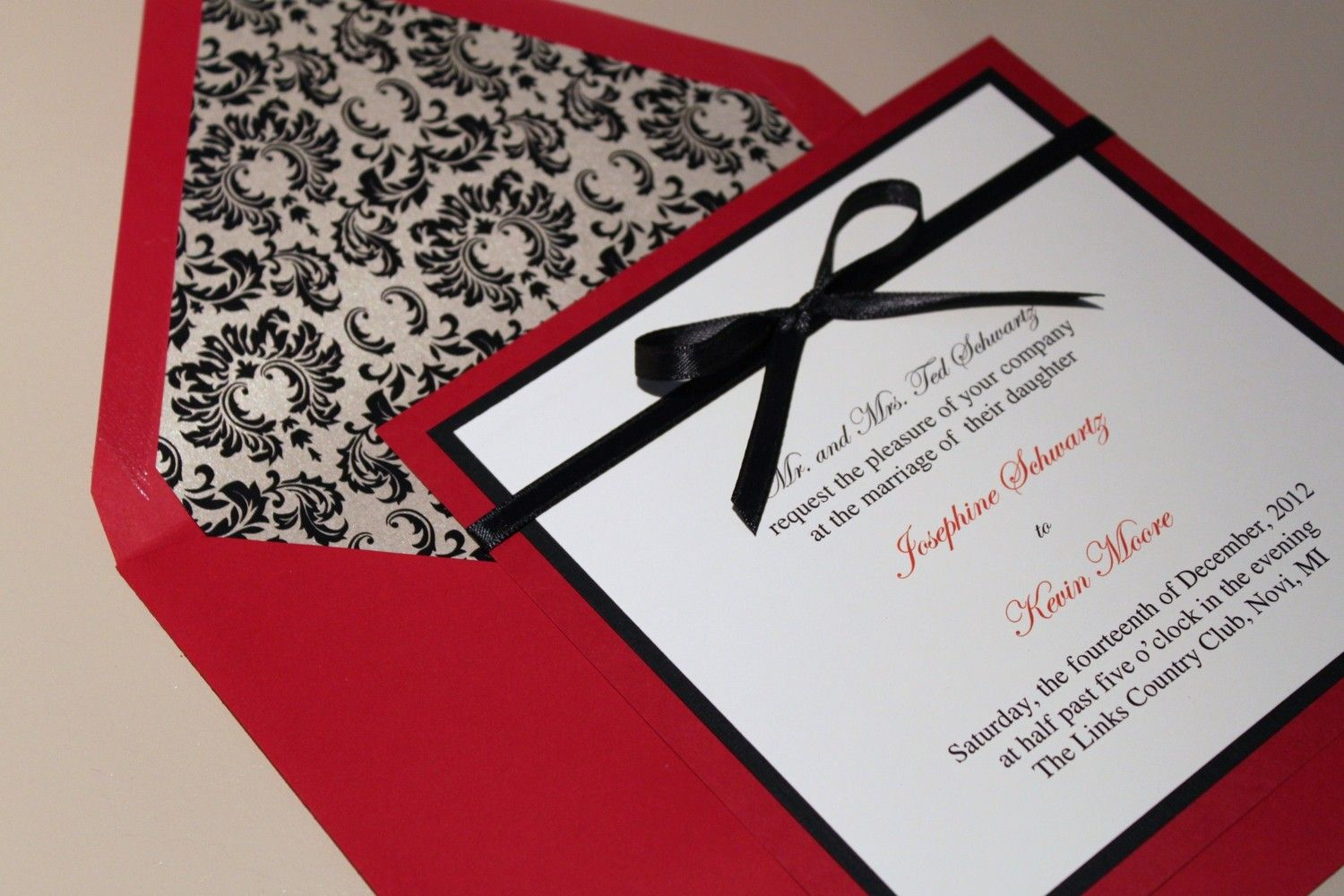 Square Damask Wedding Invitations, Red and Black, Vintage ...