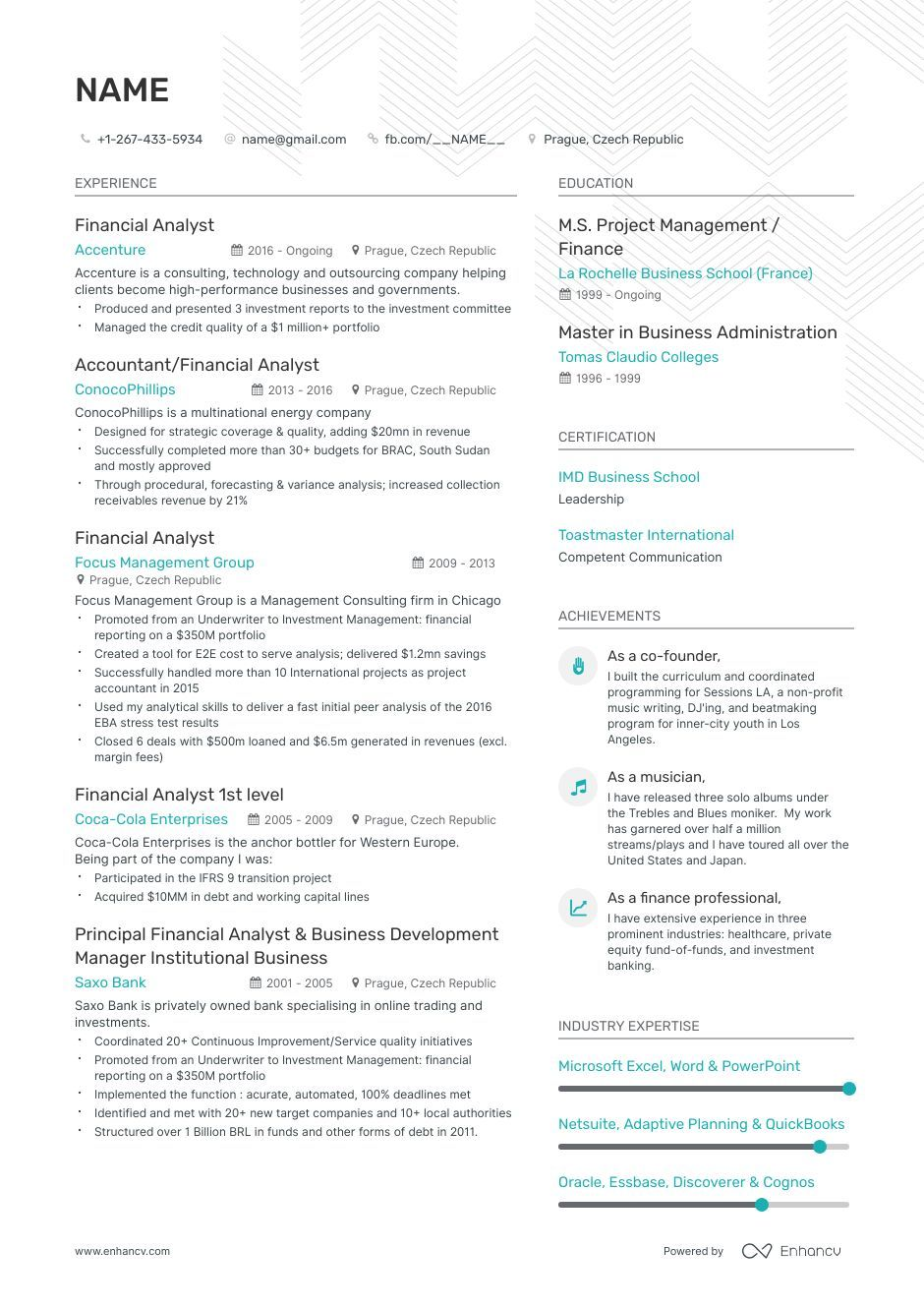 EntryLevel Financial Analyst Resume Examples, Skills