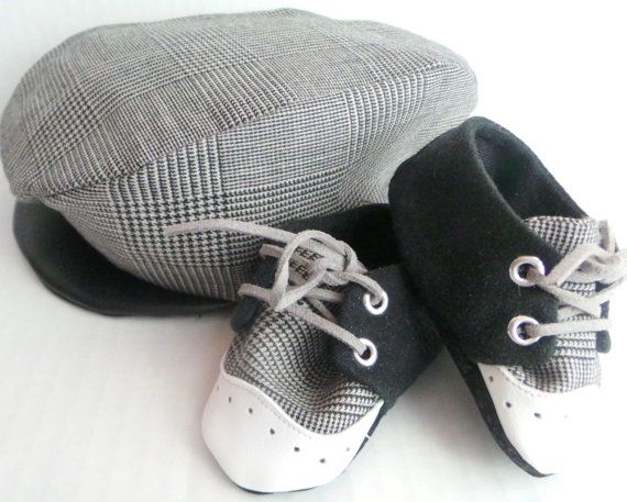 Infant Toddler Driver Cap Black White Brogue Shoes