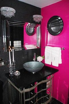 Rock Star Glamour   The Now Glam Bathroom Features Silver Silk Drapes,  Floor To Ceiling Black Tile, A Glittery Vessel Sink And A Solid Hot Pink  Wall For A ...