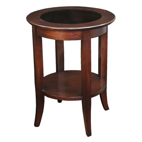 Solid Oak Chocolate Bronze Round Side Table