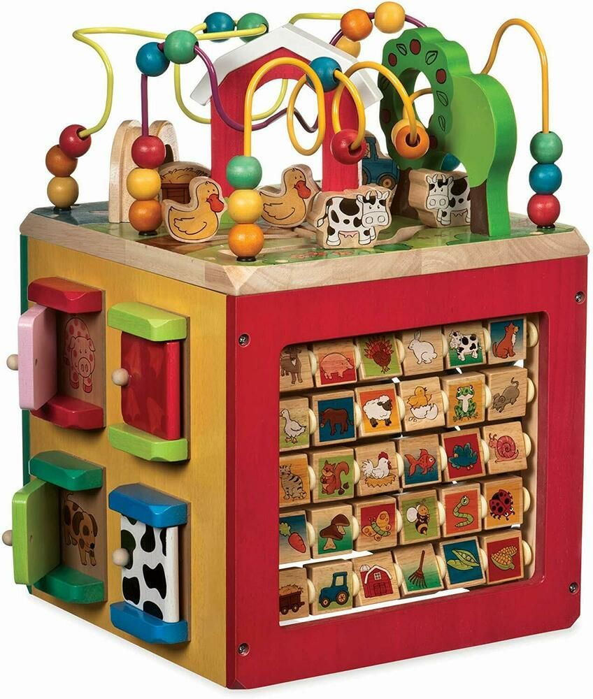Kids Wooden Activity Cube Discover Farm Animals Activity ...