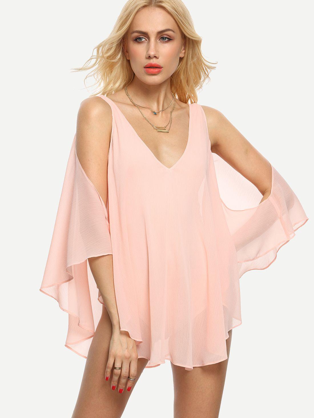 Blusa escote V hombro frío sin espalda -rosa | Blusas | Pinterest ...