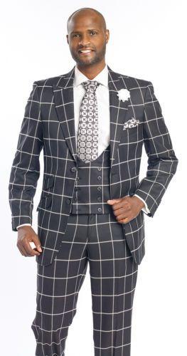1ed78afd19 Mens-Black-White-Suit-Plaid-Wool-3-Piece-Vest-Blazer-Suits-M2698-Holiday-EJ- Men