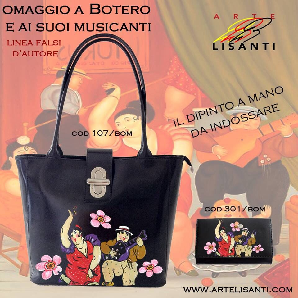 "Linea Falsi d'Autore- Borsa e Portafogli dipinta a Mano - Omaggio ai Musicanti Di Botero Hand painted on Black Bag (Genuine Leather, Made in Italy). ""Author's fake copy"" line; ""Musicians"" Homage to Botero. Super durable colors. Exchange Code 107 Painting Code BOM www.artelisanti.com"