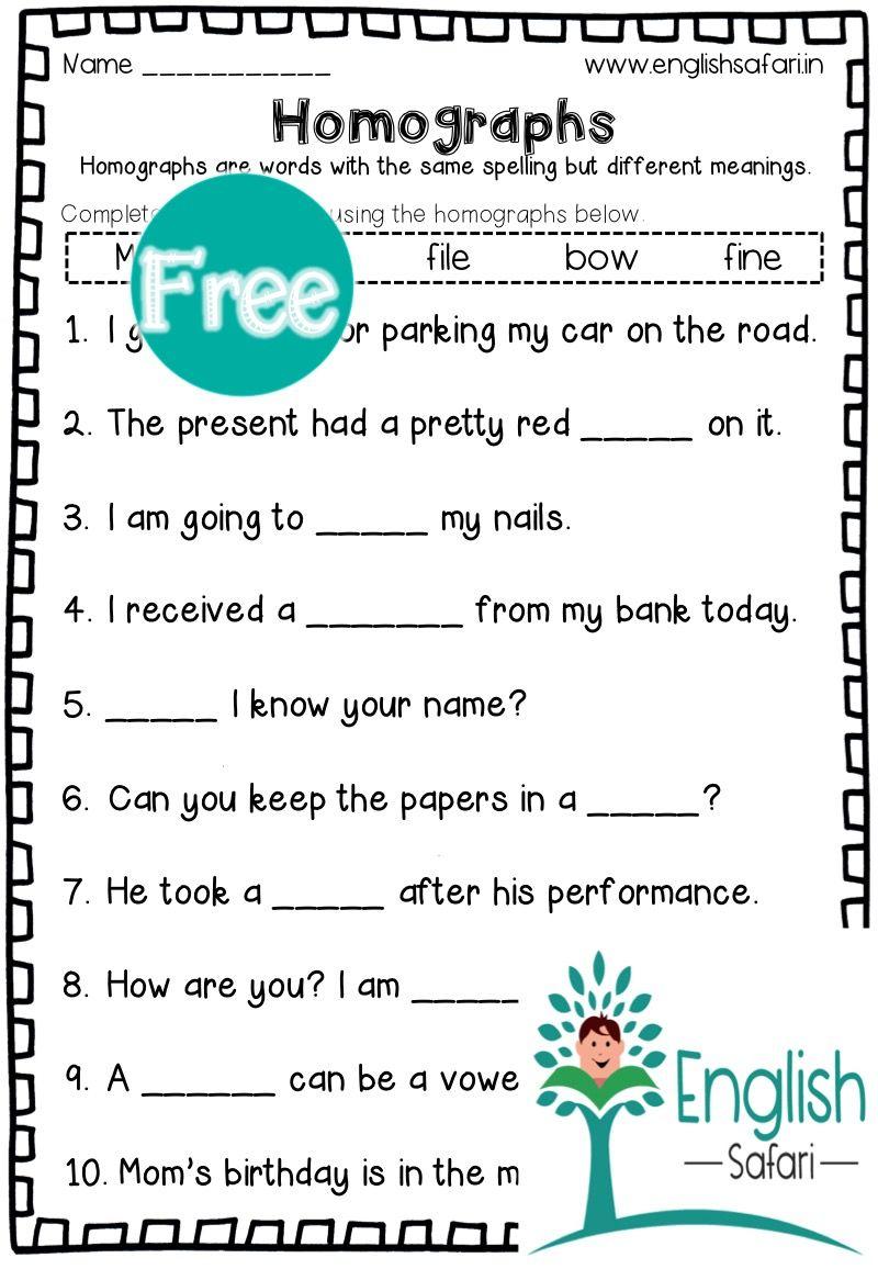 Free Homographs In Sentences Www Englishsafari In In 2020 Homographs Words Worksheets