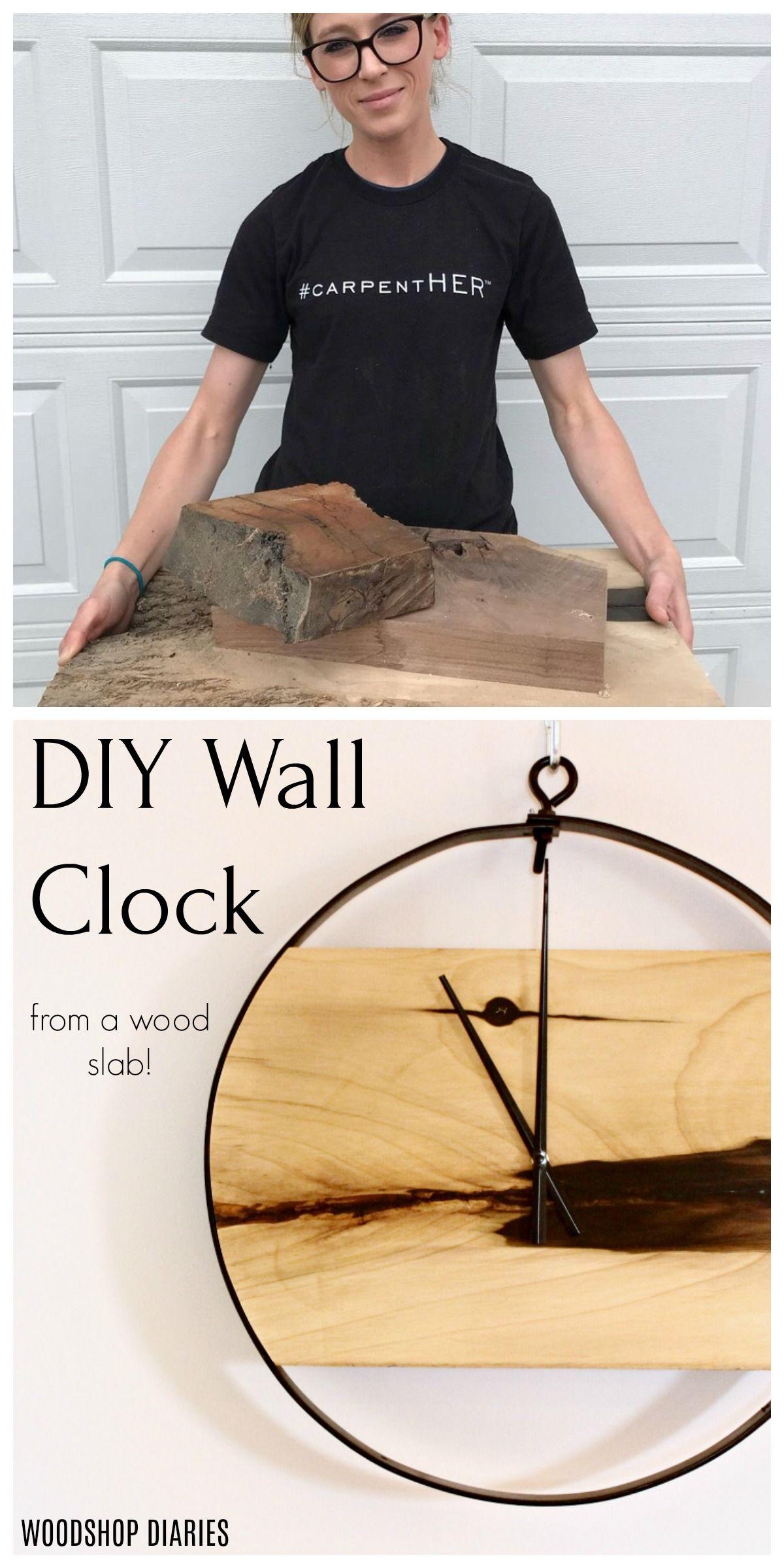 How To Make A Diy Wood Metal Wall Clock Video Tutorial Wood Clock Diy Diy Clock Wall Wood Diy