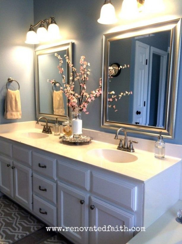 Photo of DIY Master Bath Makeover – The before paint color make me nauseous but after a c…