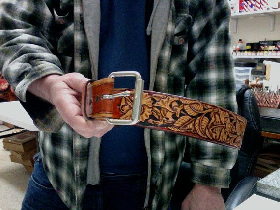 Belt / Leather / Men or women /  Western / Hand Carved and Tooled / Leather Belt