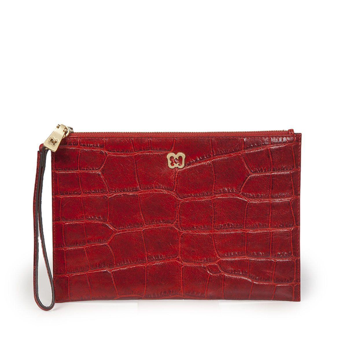 44e5a2430f3974 Eric Javits Luxury Fashion Designer Women'S Handbag - Flat Zip Clutch - Red