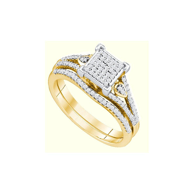 10K White Gold Diamond Ladies Bridal Engagement Ring with
