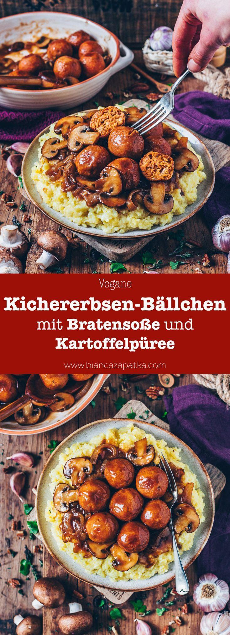 Vegane Kichererbsen-Bällchen mit Bratensoße und Kartoffelpüree #mashedpotatoesrecipe