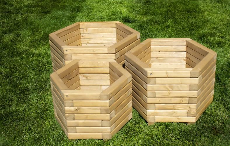 60cm Hexagon Wooden Planter For Sale In Greetham None International Preloved Planters For Sale Second Hand Garden Furniture Wooden Planters