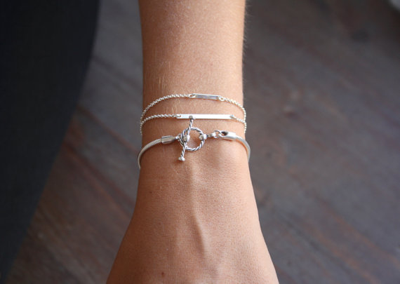 Dainty sterling silver bracelets Stacking silver by SharonTasker