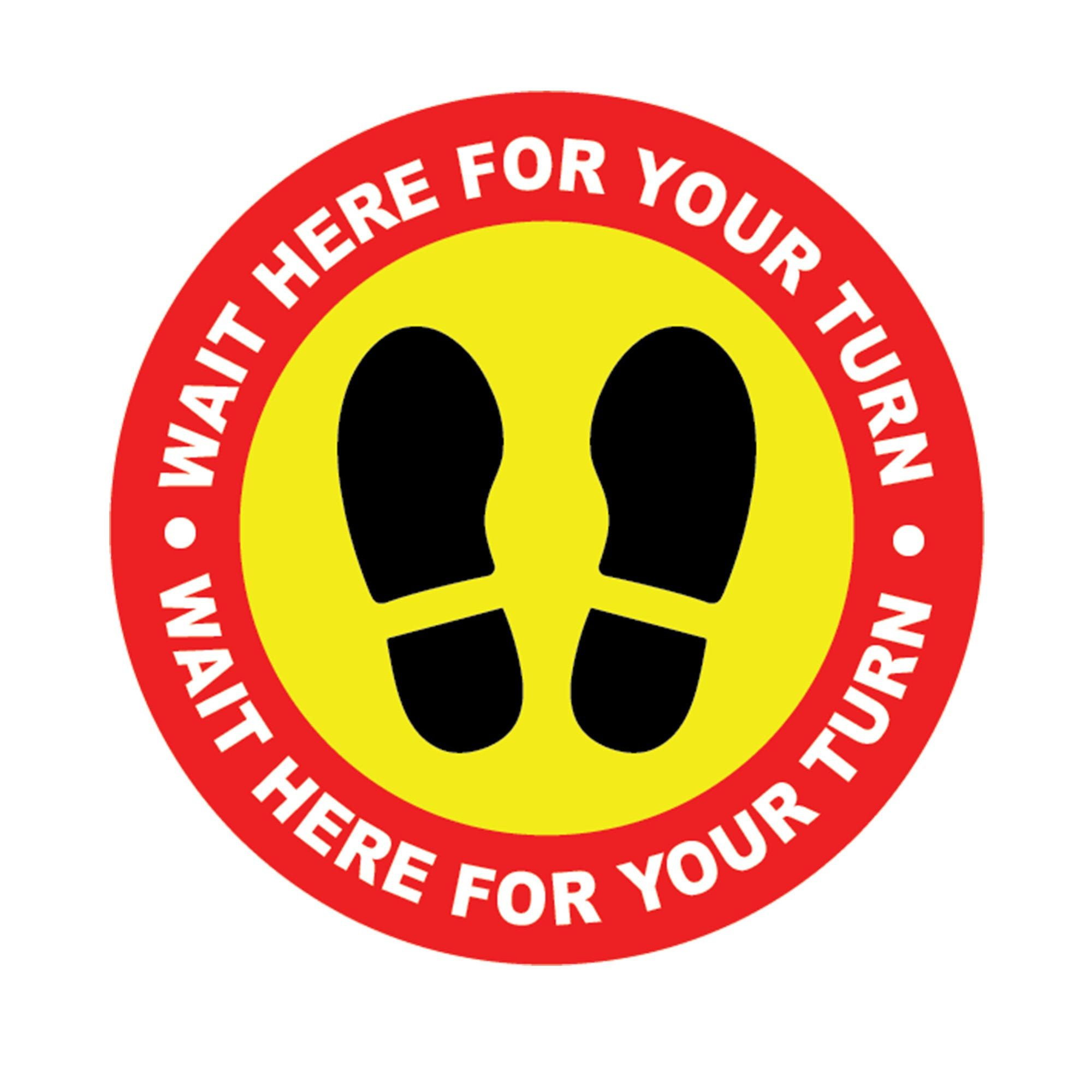 Social distancing Vinyl Circle stickers Wait here for your