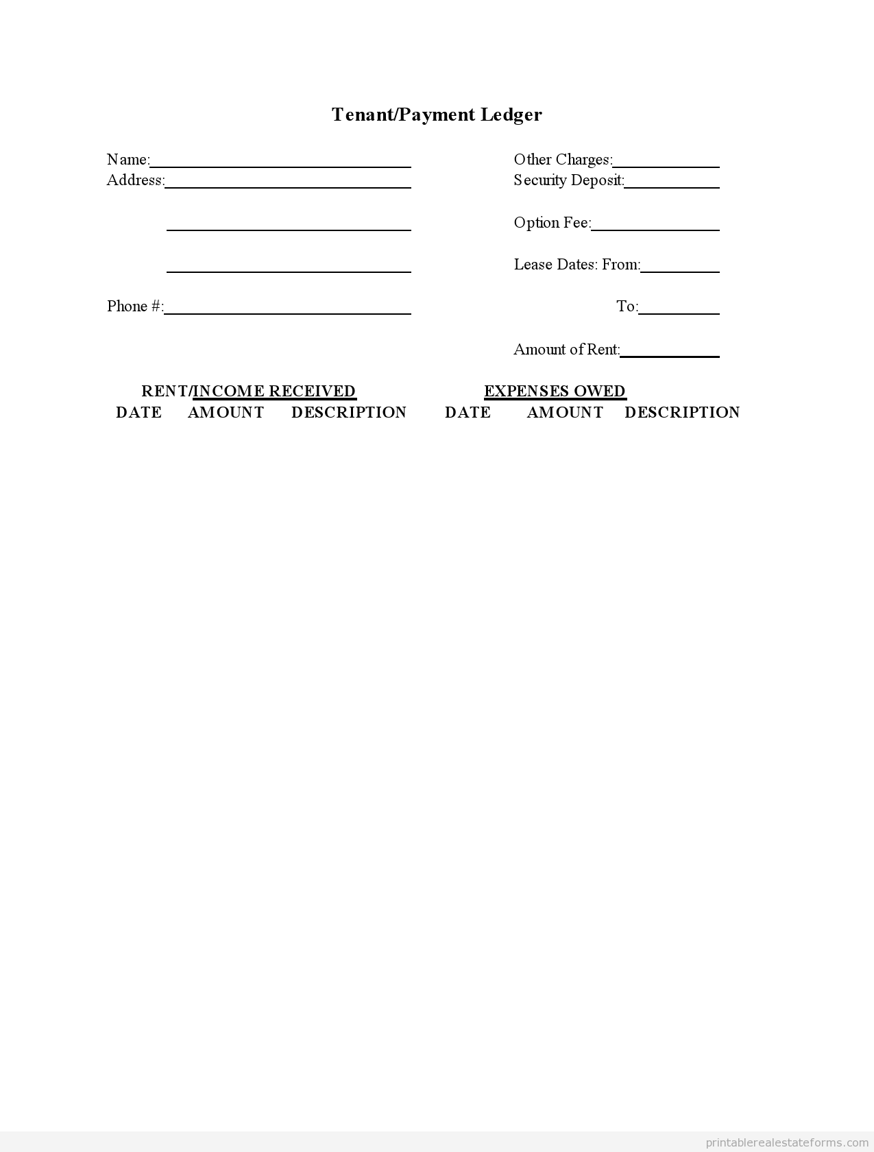 Sample Printable Tenant Payment Ledger Form  Sample Real Estate