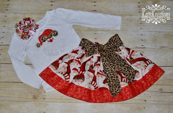 Christmas Santa Holiday Outfit  Applique Shirt  door KattsKreations1