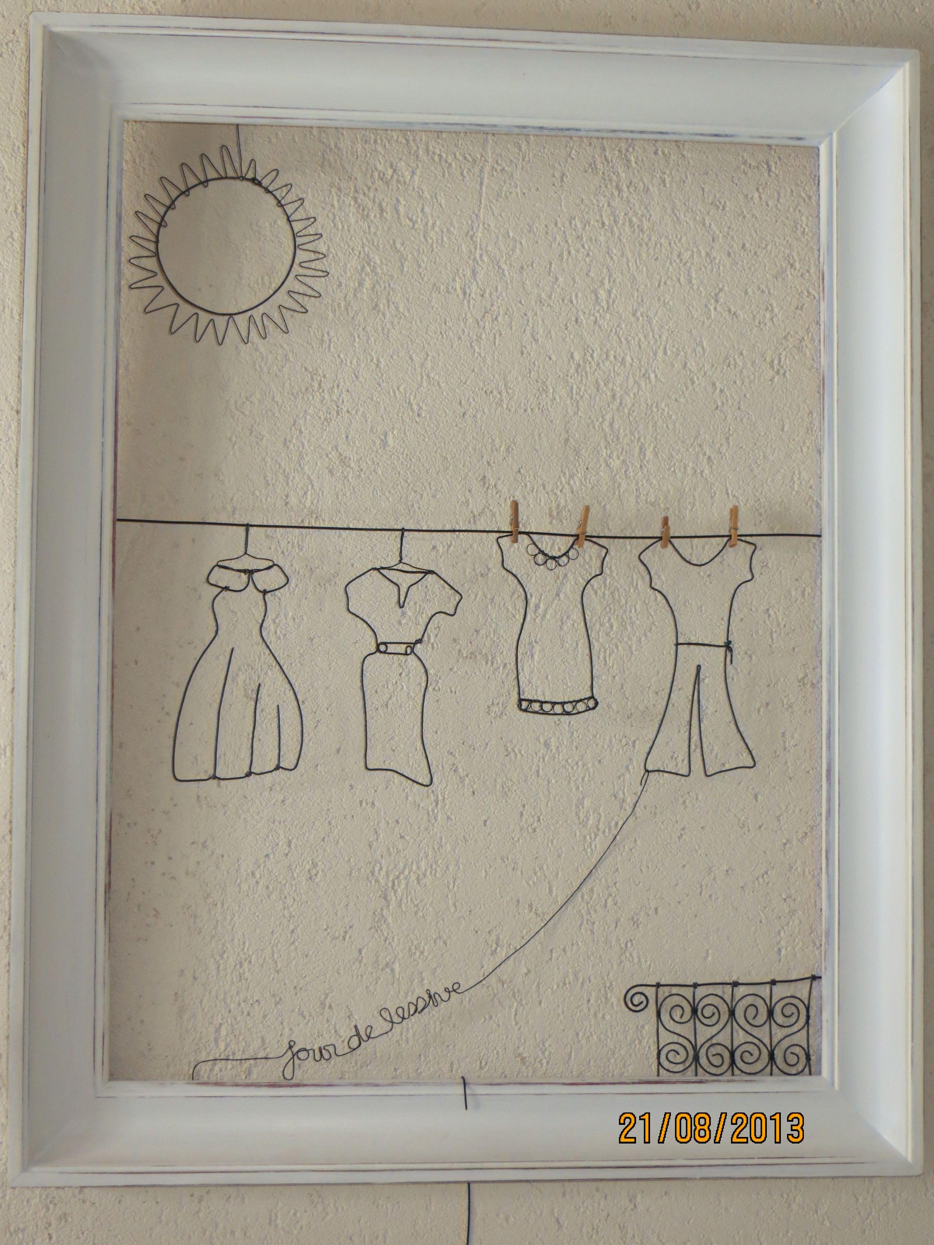 recycler un tableau avec un d cor en fil de fer fil de fer pinterest fil de fer fil et. Black Bedroom Furniture Sets. Home Design Ideas