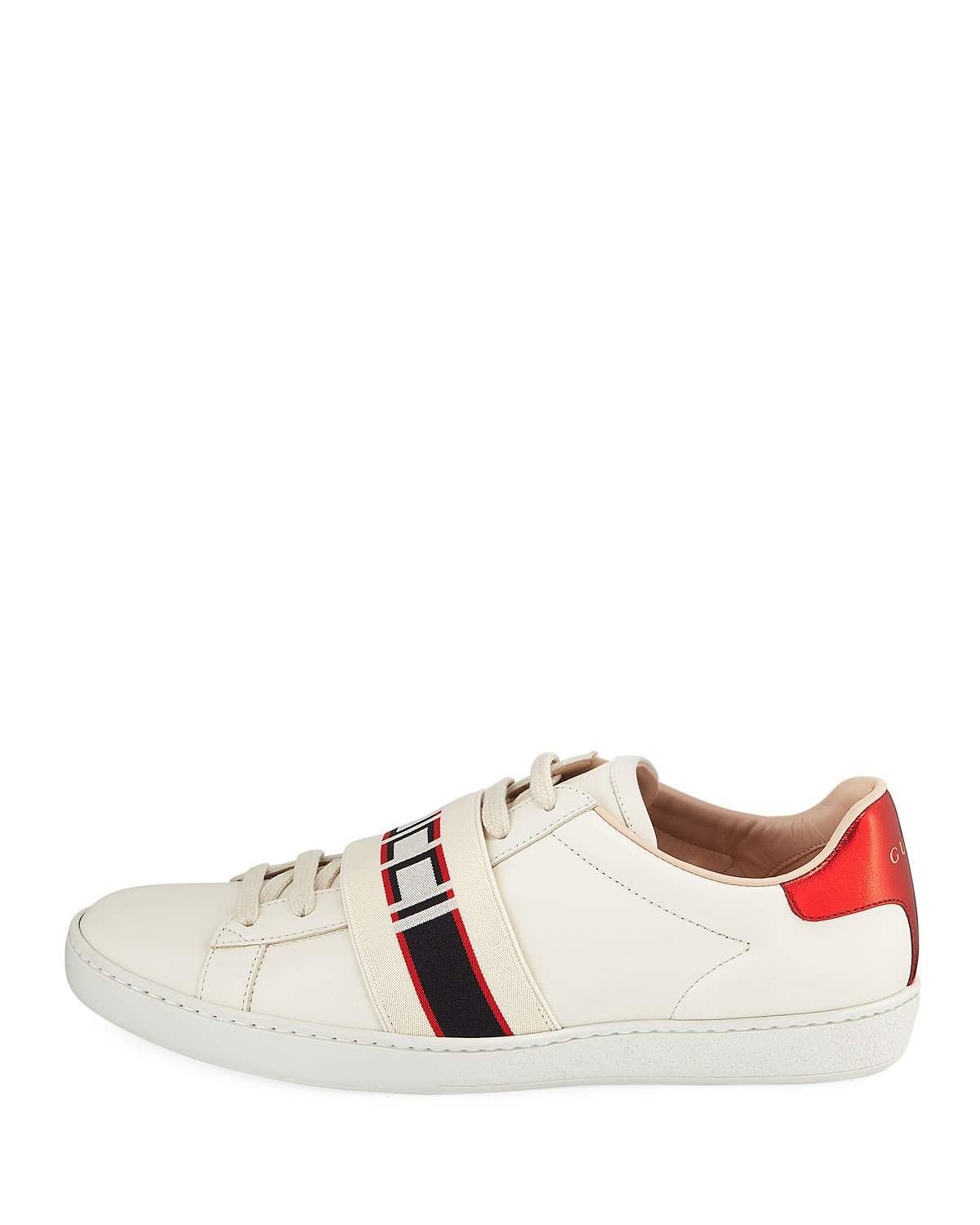 85acb8b9187 Gucci Ace Logo-Band Leather Low-Top Sneaker