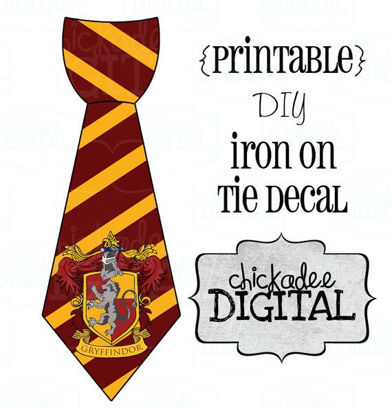 1 Tie Harry Potter Gryffindor House Crest Printable DIY Iron On Decal Baby Boys Toddler For Onesies And Tshirts