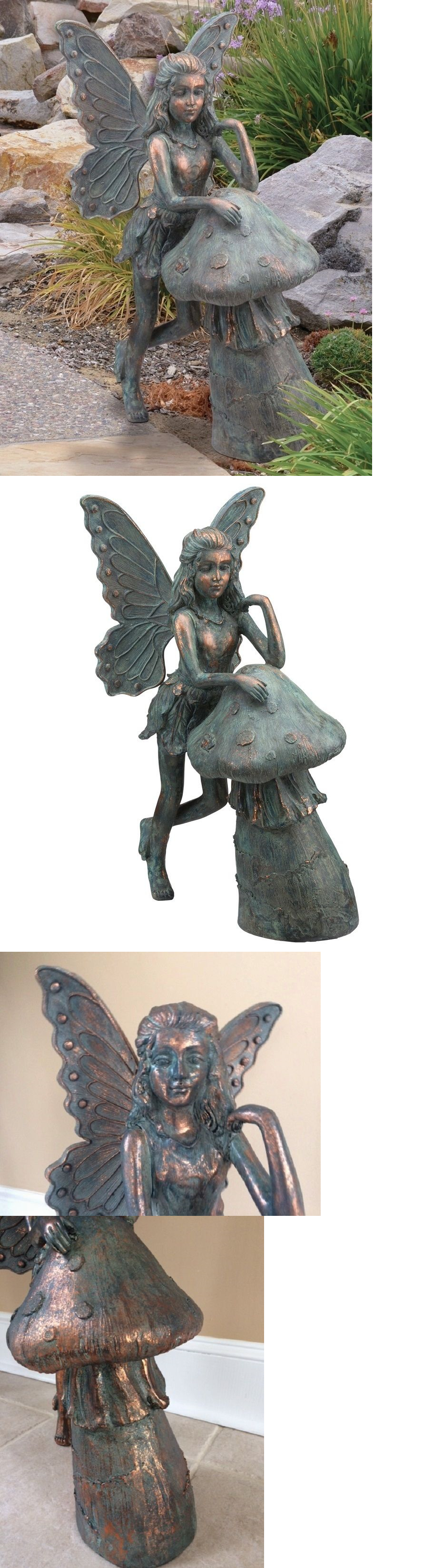 Garden decor statues  Statues and Lawn Ornaments  Resting Fairy And Mushroom Garden