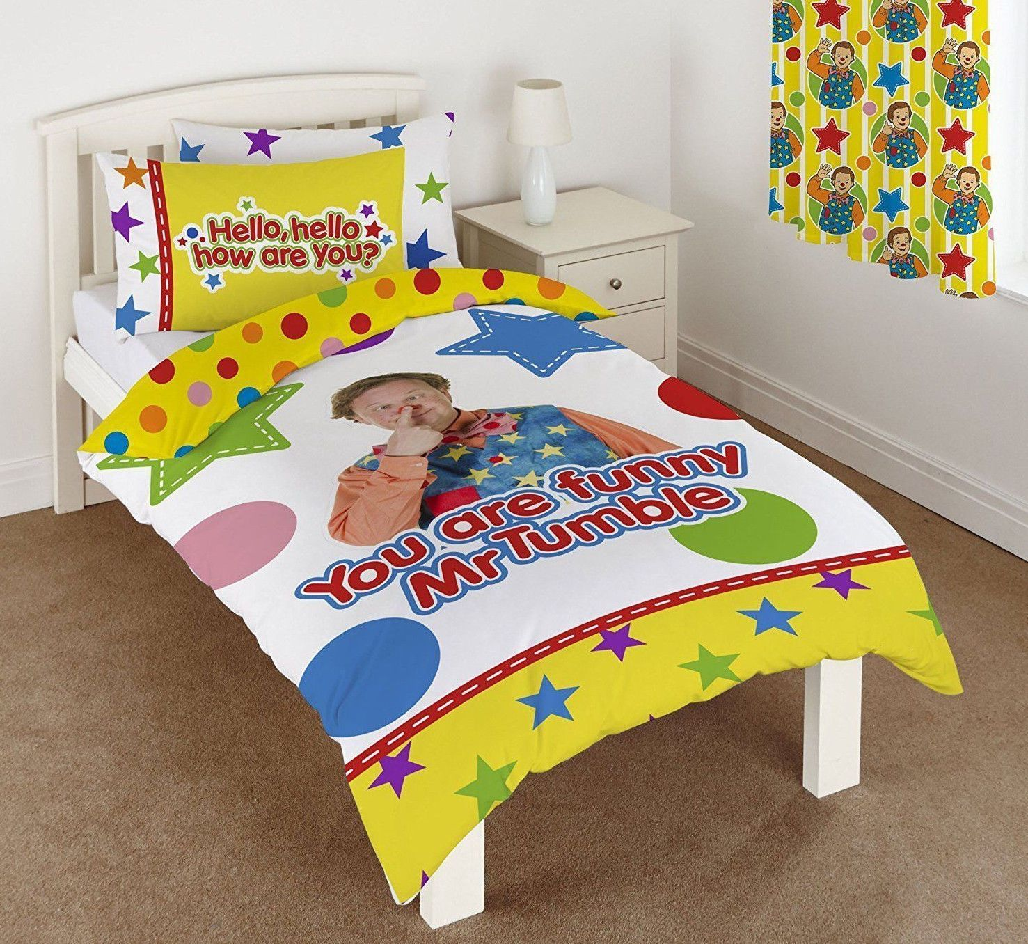 Single Bed Mr Tumble Duvet Cover Set Something Special Star Circle Spots Yellow Bed Single Duvet Single Duvet Cover