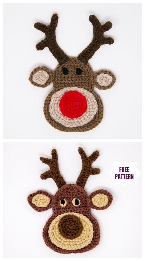 Christmas Crochet Reindeer Applique Free Crochet Patterns #crochetapplique