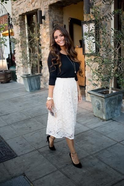 68b3e757b86  roressclothes closet ideas  women fashion outfit  clothing style apparel  elegant Black Top and White Skirt