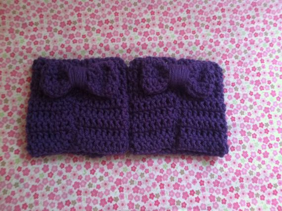 Purple boot cuffs with bows by Estcrochett on Etsy