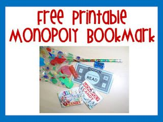free monopoly bookmark perfect for the beginning of the school