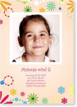 Geburtstagseinladungen für Mädchen - Flower Power in Apricot