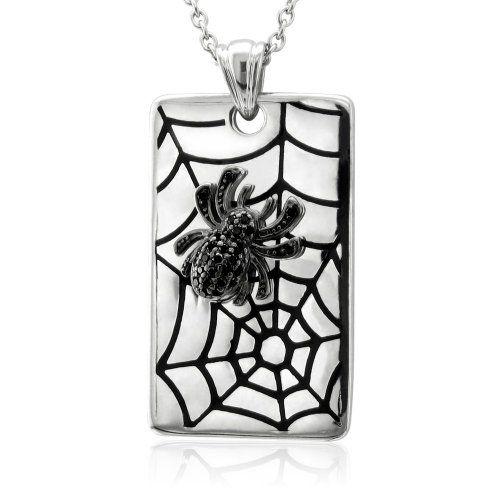 Amazon.com: Sterling Silver Black Circle Diamond Spider Web Pendant (.12carat): Diamond Delight: Jewelry